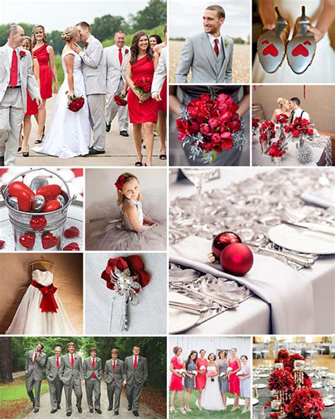 wedding colour themes silver red grey and silver weddings