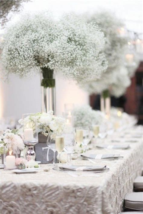 white winter wedding centerpieces baby breath flowers