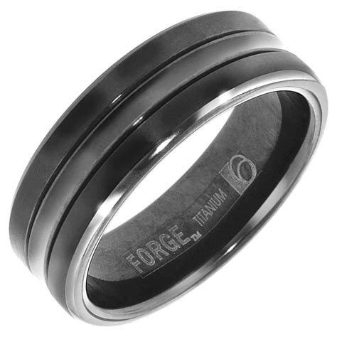 benchmark mens wedding band in black titanium 7mm