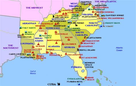 southern states map map of southern us my