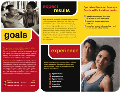 personal brochure templates personal trainer intensity brochure the gymhouse