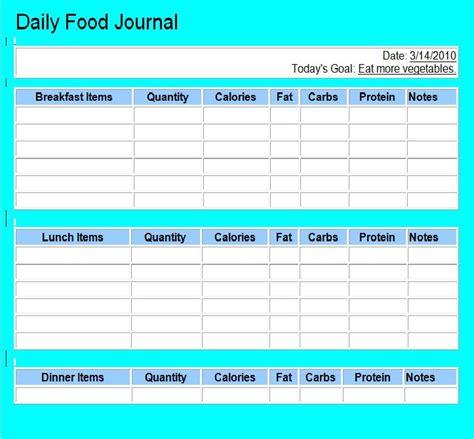 printable low carb food journal 40 simple food diary templates food log exles