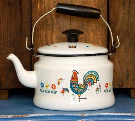 country kitchen kettle vintage berggren enamel rooster tea kettle country