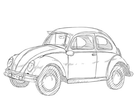volkswagen bug drawing vw beetle drawing