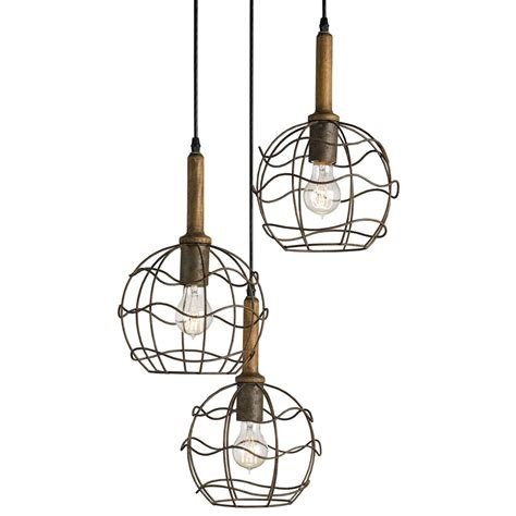 Wire Pendant Light Emery Industrial Loft Wire Frame Trio Pendant Light Kathy Kuo Home