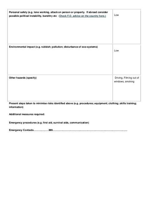 fieldwork risk assessment form
