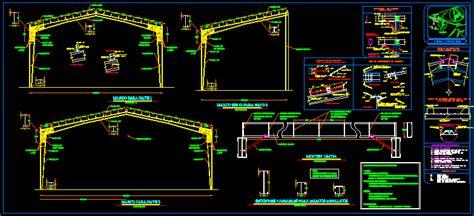 industrial shed steel framing  autocad cad  kb