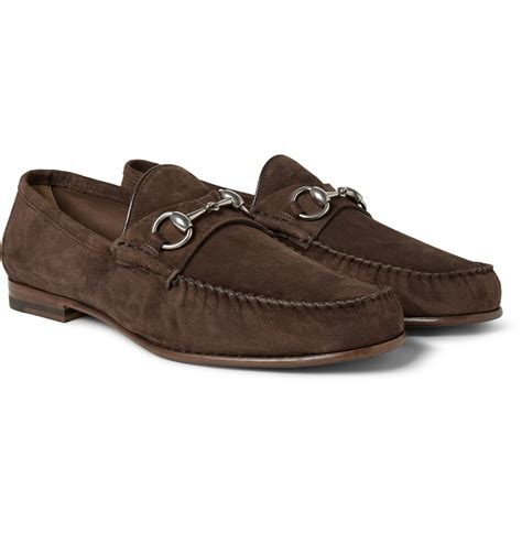 brown suede gucci loafers lyst gucci horsebit suede loafers in brown for