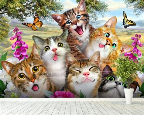 cat wallpaper room cat selfie wall mural cat selfie wallpaper wallsauce usa
