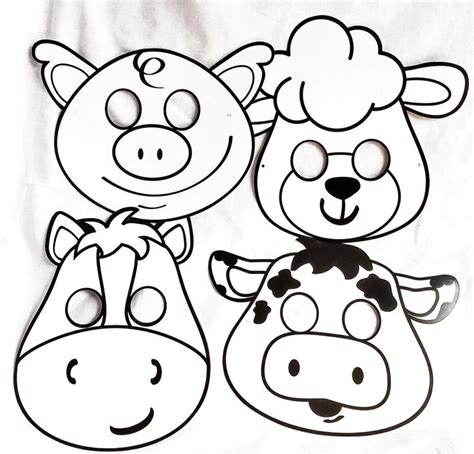 printable mask farm animals farm animal masks diy color your own set of 4 farm animal