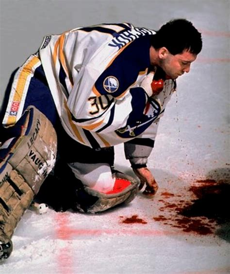 Bench Coach In Baseball A Hockey Goalie Right After His Neck Was Sliced By Another