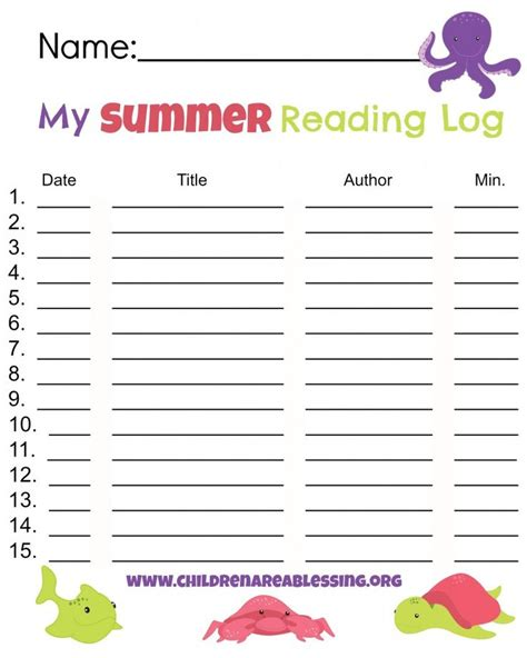 summer reading log template 15 best images about preparing for 1st grade on