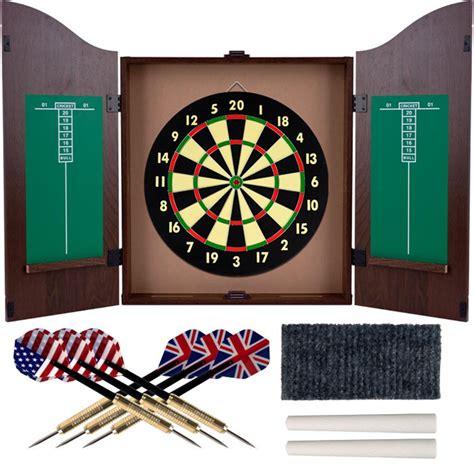 Dartboard And Cabinet by Trademark 174 Tg Dartboard Cabinet Set Realistic Walnut