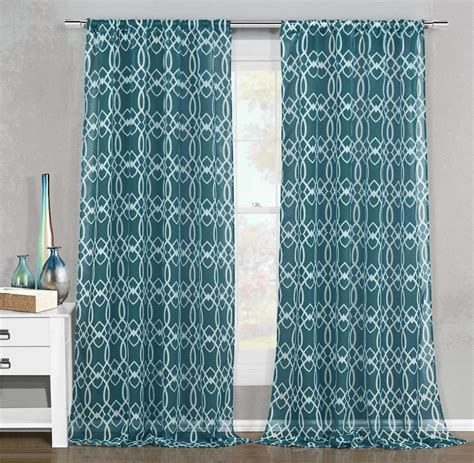 Teal Sheer Curtains Set Of 2 Sheer Window Curtain Panels Teal White Geometric Design 102 Quot W X 84 Quot L Bathroom