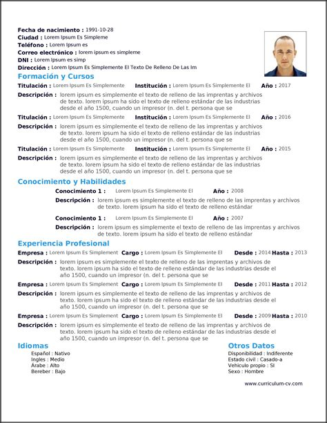 Plantilla De Curriculum Vitae Simple Cv Formato Us