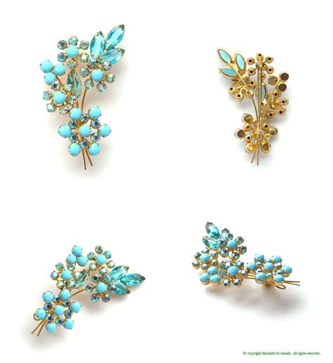 awesome of aqua flower on juliana turquoise floral brooch awesome antique gems