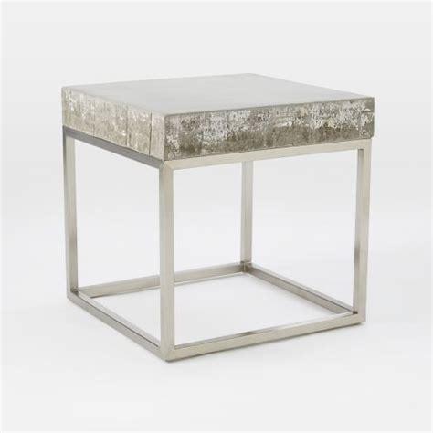 Concrete Side Table Concrete Chrome Side Table West Elm