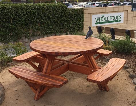 Round Wooden Picnic Table with Attached Benches