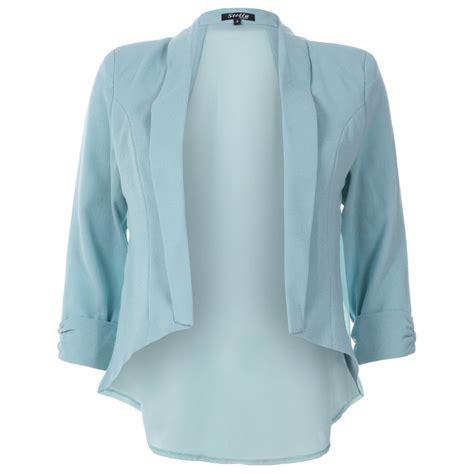 light blue coat womens womens light blue chiffon textured open front smart jacket