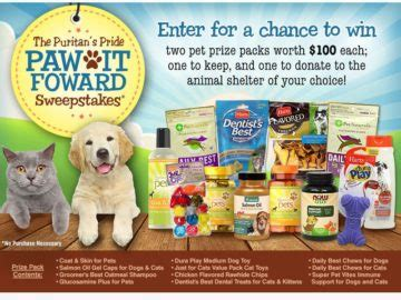 Puritan S Pride Sweepstakes - puritan s pride paw it forwardl sweepstakes