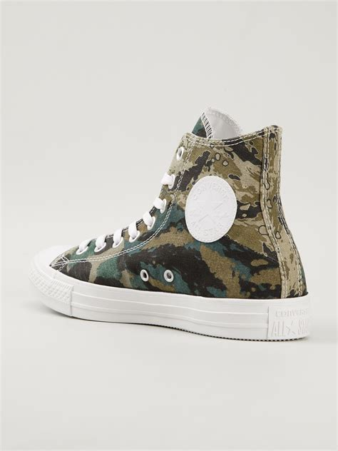 converse camouflage sneakers converse camouflage print hitop sneakers in green for