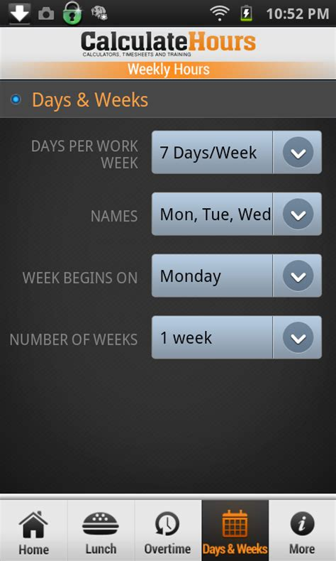 hour calculating time sheet time card calculator timeclock android