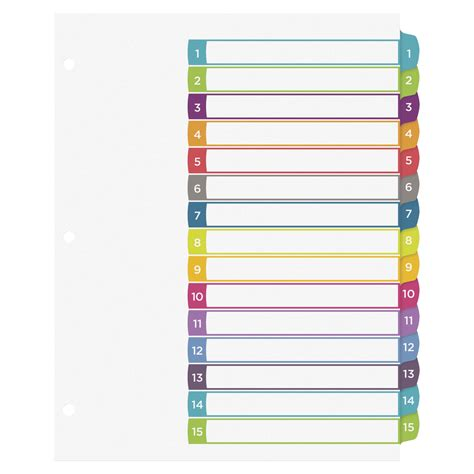 avery ready index 15 tab template avery ready index table of contents dividers 15 tabs