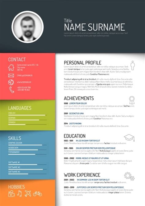 creative cv layout design free creative colorful resume design templates 2017 free
