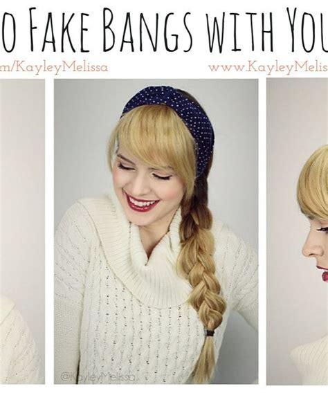 fake bangs kayleymelissa how to fake bangs hair pinterest