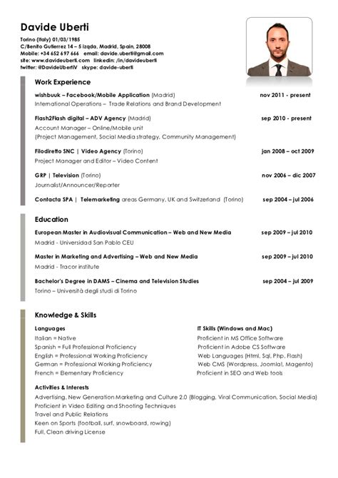 Modelo Curriculum Quiromasajista Curriculum Vitae Davide Uberti
