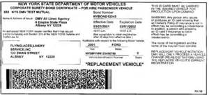 new driver temporary car insurance sle nys insurance id cards new york state dmv