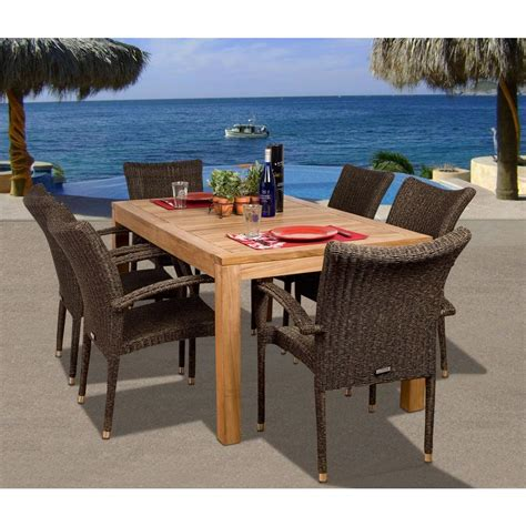 amazonia brussels  piece teakall weather wicker patio dining set sc brussels  home depot