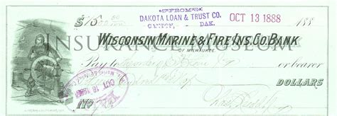 Insurance Background Check Wisconsin Marine Insurance Co Bank Of Milwaukee 1888 10 13 Checks