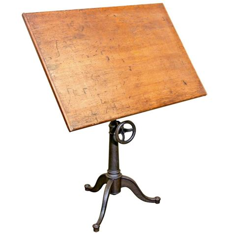 iron drafting table vintage cast iron articulating tripod base drafting table