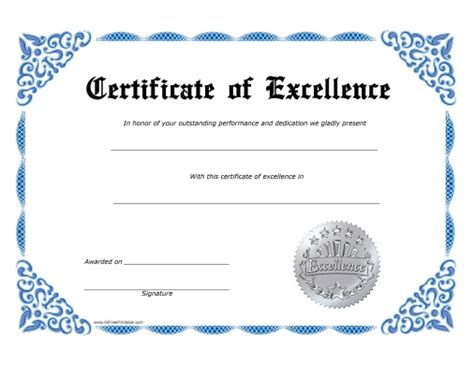 certificate of excellence template free free printable certificate of excellence template