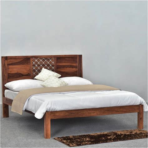 lattice solid wood rustic platform bed frame w