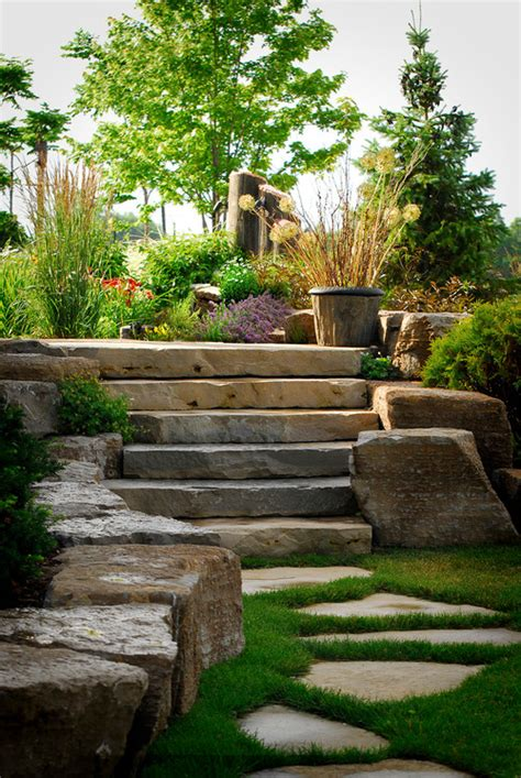 the large flat rocks along stairs doing project with