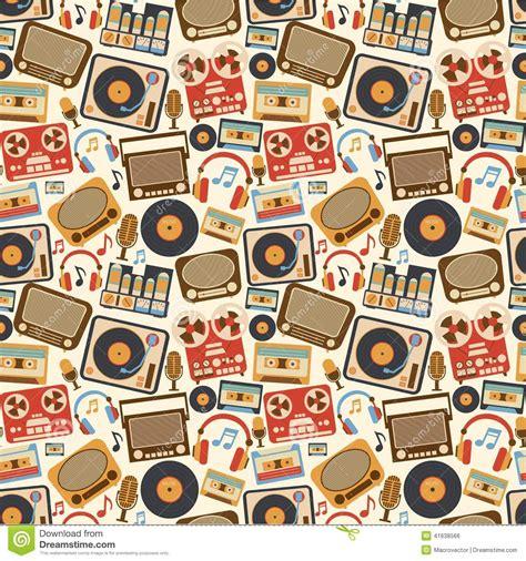video player pattern music retro seamless pattern stock vector illustration