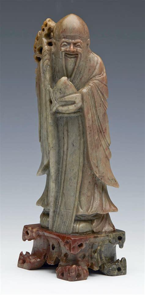 Soapstone Figures - superb antique carved soapstone figure of shoulao