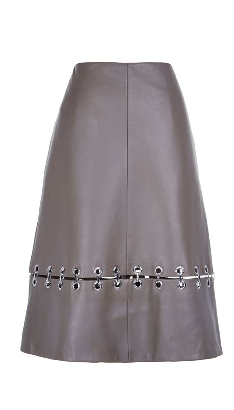 tibi metal rings on leather a line skirt in gray lyst