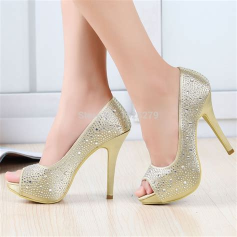 Heels Ip 11 ep11066 ip gold purple bridal pumps high heel peep toe prom evening rhinestones platforms