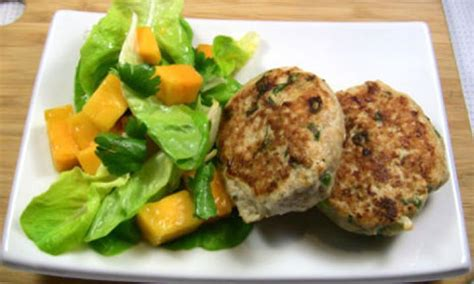 chicken rissoles  sweet chilli mango salad recipe