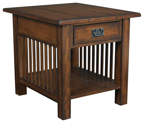 mission style accent table hammary canyon 1 drawer end table in mission oak