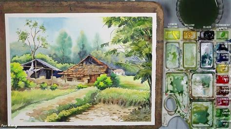 watercolor house tutorial watercolor painting village landscape step by step