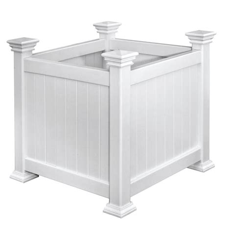 vinyl planter boxes arbors cardiff 16 in square white vinyl planter box