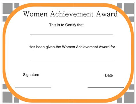 certificate templates for achievement award women achievement award certificate certificatetemplate net