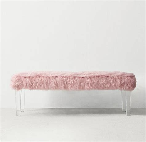 pink mongolian fur bench seating products bookmarks design inspiration and