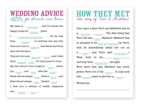 wedding mad libs template wedding mad libs template