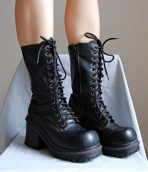 Boots Rv 13 the 1990s faux leather lace up chunky heels platform