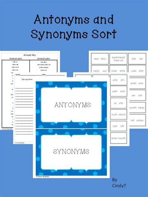 synonym solutions antonyms and synonyms sort learning